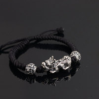 Pure 925 Silver Pixiu Bracelet 18 5cm Adjustable Size Classic Rope Chain S925 Thai Silver Beads