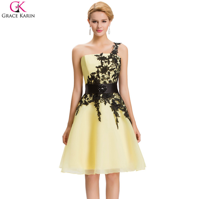 Grace Karin Short Evening Dresses Organza Lace One Shoulder Vestidos ...