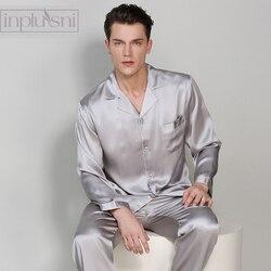 Inplusni blockbuster di 100% pigiama di seta degli uomini set pigiama a maniche lunghe per il periodo di quattro stagione e per la casa degli uomini di modo homewear