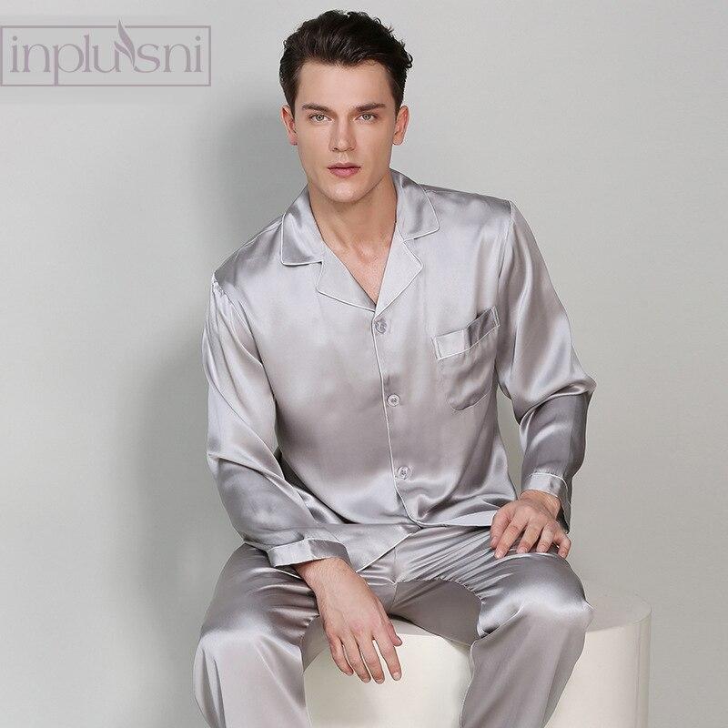 Inplusni Men Pajama Sets Long Sleeve Blockbuster 100% Silk Pyjama For Four Season Period And Household Fashion Men Homewear