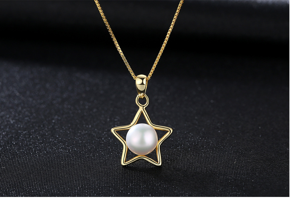 S925 sterling silver item five pointed star jewelry natural pearl pendant necklace accessories VS08