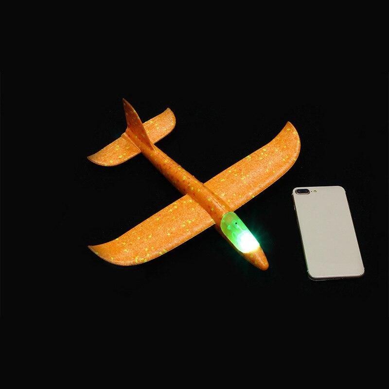 Дети DIY модель самолета ручной бросок Летающий планер самолет пена наполнители самолет СВЕТОДИОДНЫЙ мигающий самолет игрушки для детей подарок - Цвет: Head Lamp Orange