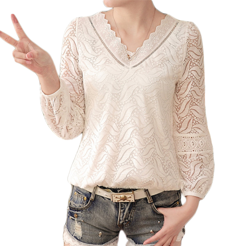 V Neck Blusas 2017 Spring Summer Women Long Sleeve White Lace Crochet Blouse Shirts Hollow Out Casual Tops Plus Size G6618
