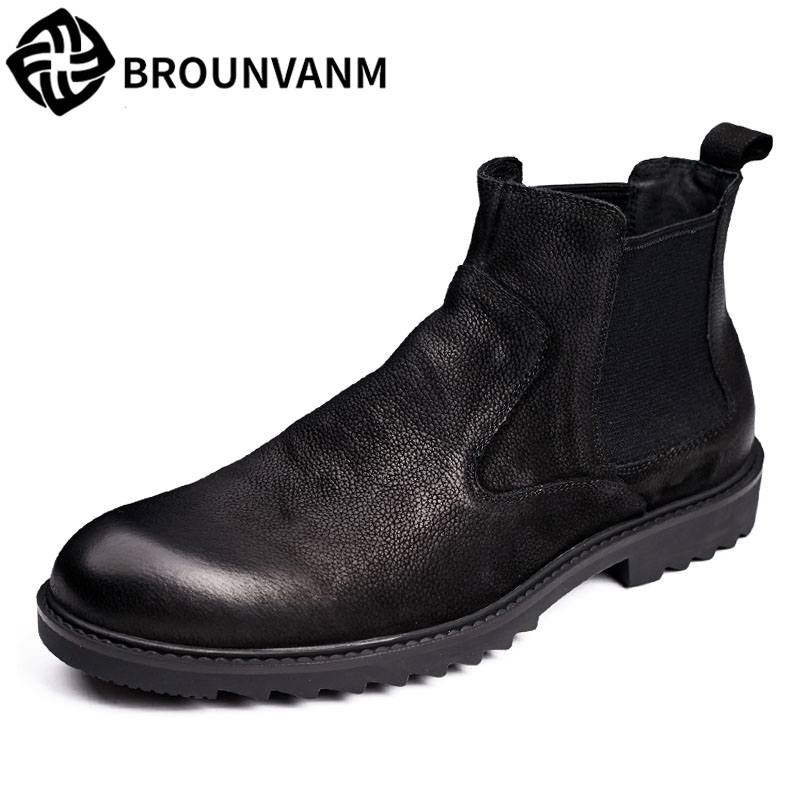 2017 Martin men's leather boots Chelsea English wind autumn winter British retro men shoes zipper leather shoes breathable 2017 new autumn winter british retro zipper leather shoes breathable sneaker fashion boots men casual shoes handmade