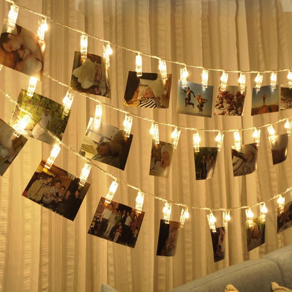Batterie alimenté EUPlug Led carte Photo Clip chaîne lumières bébé douche romantique décoration de mariage pour la maison vacances lumières intérieur