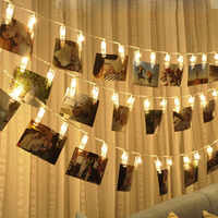 Battery Powered EUPlug Led Card Photo Clip String Lights Baby Shower Romantic wedding decoration for Home Holiday lights indoor