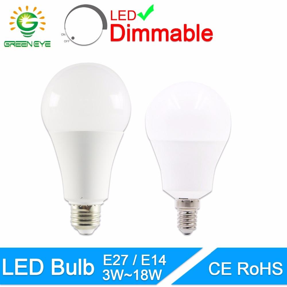 GreenEye LED Bulb Dimmable Lamps E27 E14 220V 240V Light Bulb Smart IC Real Power 20W 18W 15W 12W 9W 5W 3W Lampada LED Bombilla