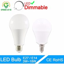 GreenEye LED Bulb Dimmable Lamps E27 E14 220V 240V Light Bulb Smart IC Real Power 20W 18W 15W 12W 9W 5W 3W Lampada LED Bombilla(China)