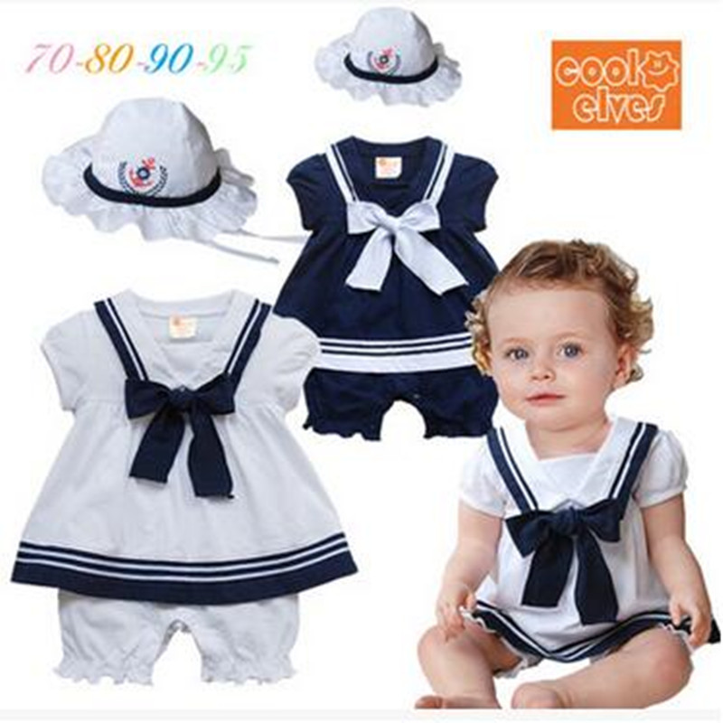 Baby girls short sleeve cotton rompers +hat set summer fashion kids jumpers navy style infant overalls newborns clothes 17J701