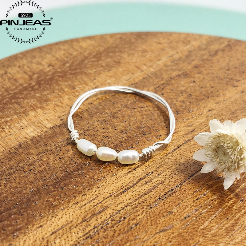 PINJEAS Silver Ring 2pcs Handmade oval pearl ring,minimalinst Exquisite vintage stackable promise ring girl Valentines Day Gift