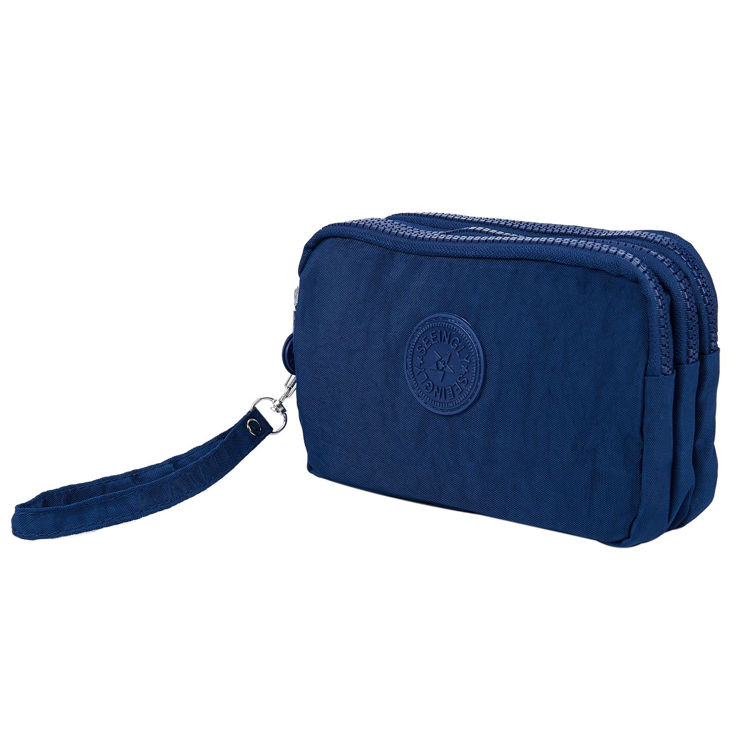 FGGS Women Small Wallet Washer Wrinkle Fabric Phone Purse Three Zippers Portable Make Up bag