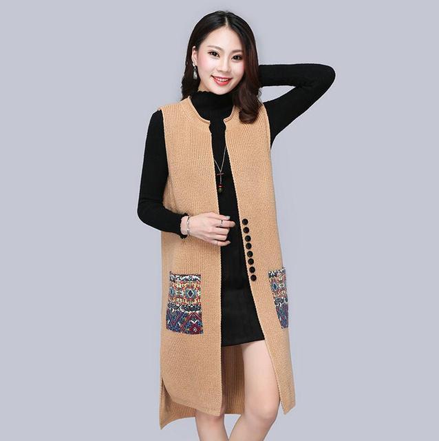 8a197ac1aed0b2 2018 new autumn winter Long Sweater Vest Women Knitted Cardigan Sleeveless  Vest Female Waistcoat Jacket Outerwear