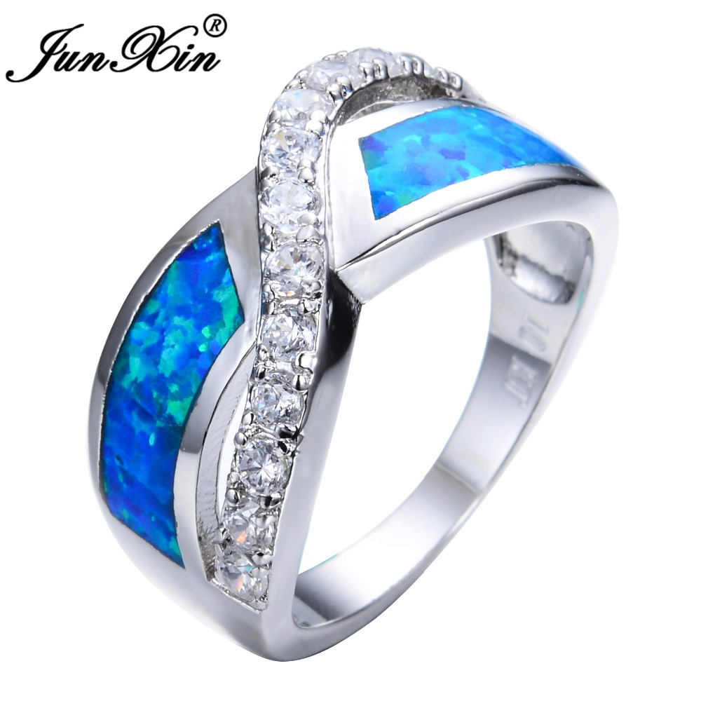 junxin women blue fire opal ring high quality 925 sterling. Black Bedroom Furniture Sets. Home Design Ideas
