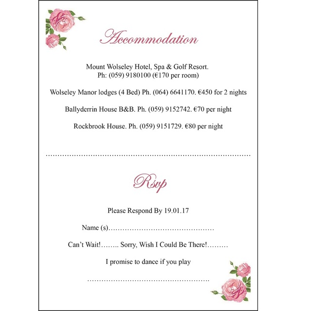 customizalbe personalized rsvp card free design printing 50pcs