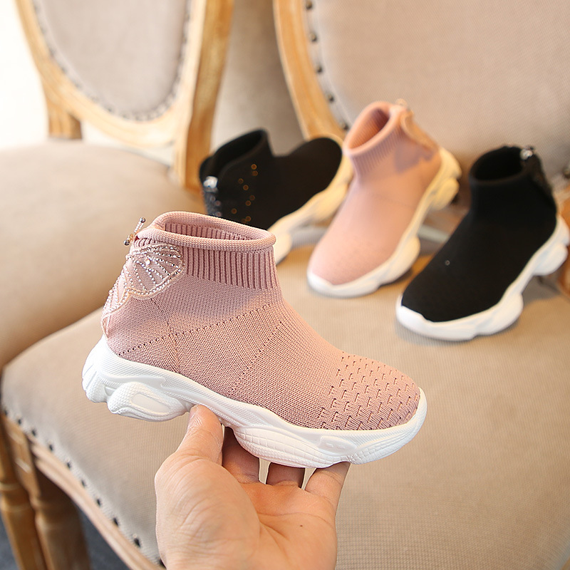 Sneakers Girls Shoes Sweet Princess Shoes Fashion Socks Shoes Breathable Flying Weaving Kids Shoes Baby Sneakers Cute Bowknot Ankle Boots Girls