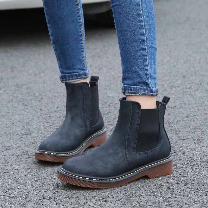 SZSGCN428-2019; Новинка; теплые ботинки «Челси» на меху; женские ботильоны в байкерском стиле; женские зимние ботинки с круглым носком