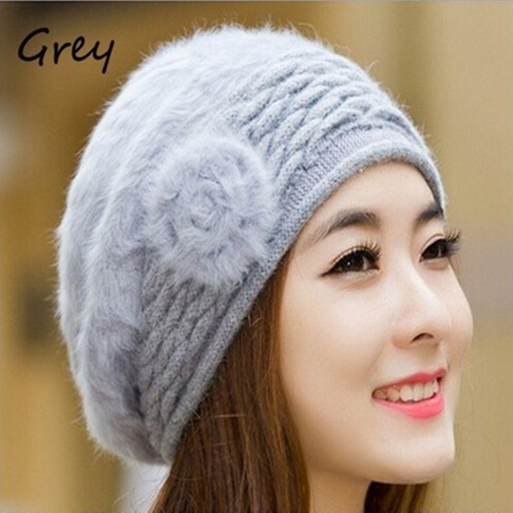 Korean Cute Fashion Hats Winter Cap Women Winter Hat Beret Rabbit Fur Hats women artist beret cap french style autumn