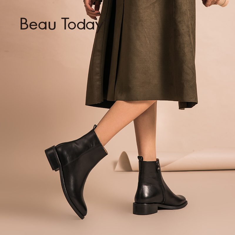 BeauToday Ankle Boots Zipper Closure Genuine Cowhide Leather Top Quality Autumn Winter Lady Shoes Handmade 03262