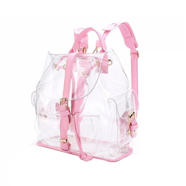 cute Clear Plastic See Through Transparent Backpack women girl student  travel Bag satchel PVC School Book bag Female Bolsas-in School Bags from  Luggage ... 9d5ee57f50