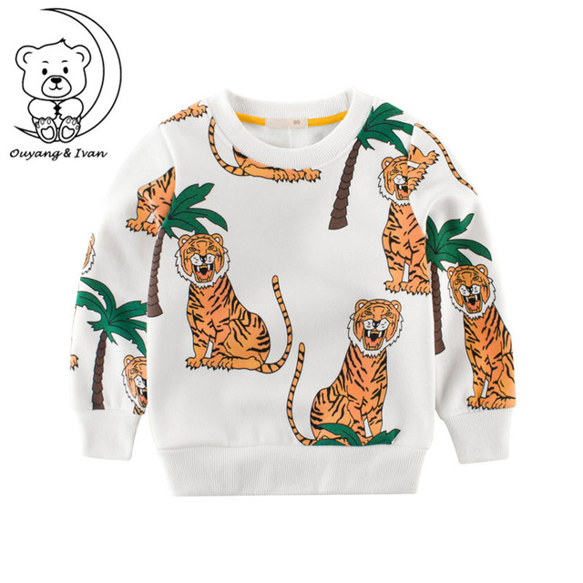 7f0eee8a 2018 Autumn Winter Kids Clothes Long Sleeve Sweatshirts Cartoon Animal Tiger  Boys Hoodies Kids Baby White Tops Children Clothing