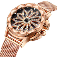 BIDEN womens watches luxury rose gold diamond ladies wristwatches stainless steel Mesh belt Citizen movement waterproof clocks