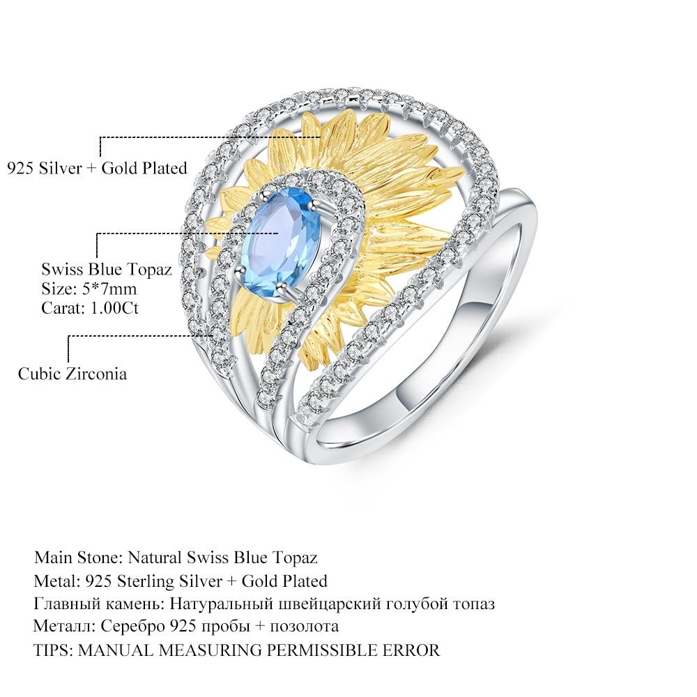 Image 5 - Женское кольцо gembs BALLET, кольцо с подсолнечником из серебра  925 пробы с натуральным швейцарским синим топазом 1,00ctКольца   -