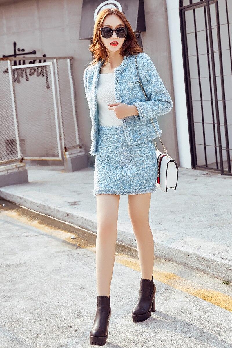 Femminile Tops Set 1 Di Alta Pezzi A Abbigliamento Lana Gonne Autunno Cappotto Modo Inverno Qualità E Due A520 Perline Donna w0Tqv
