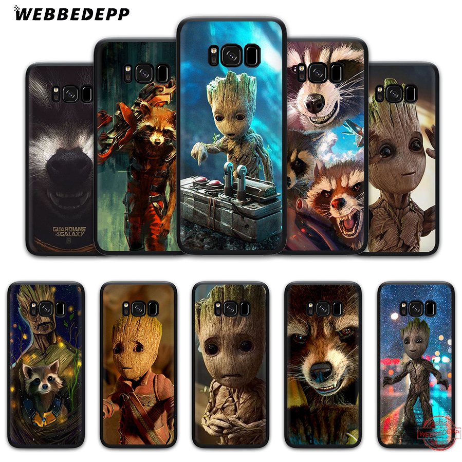 WEBBEDEPP Guardian Rocket Raccoon Groot Soft Silicone Case for Samsung A3 A5 A6 S6 S7 Edge S8 S9 Plus Note 8 9