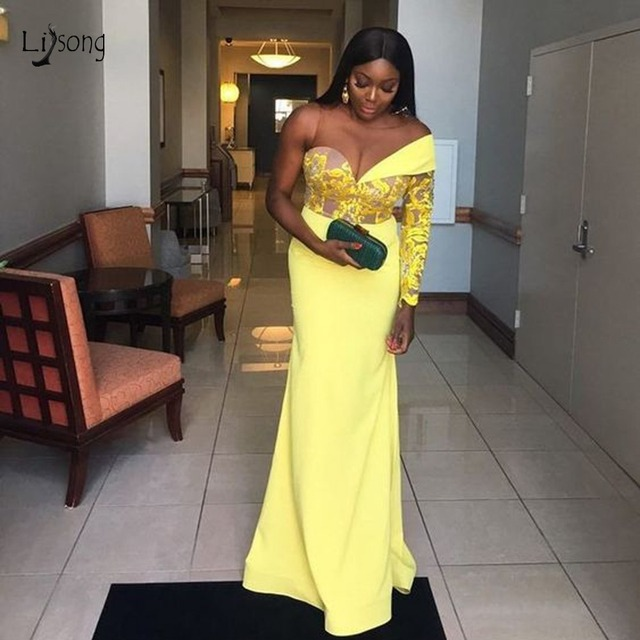 1a36d0dd36754 US $105.91 11% OFF|Aso Ebi Yellow Lace Elastic Prom Dresses One Shoulder  Gonna Long Mermaid Evening Gowns African Formal Dress 2019 Vestido Longo-in  ...