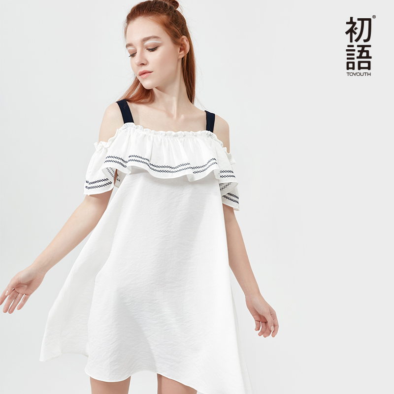 Toyouth Fashion Summer Slash Neck White Dresses Women Butterfly Sleeve Off Shoulder Dress Casual Striped Loose Mini Vestidos women s casual slash neck off shoulder striped mini dress