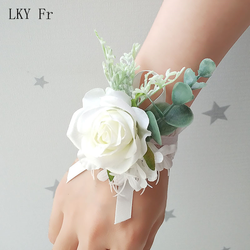 LKY Fr Wedding Corsages Flowers Bracelet Bridesmaids Wrist Corsage Bracelet Boutonniere Pin Marriage Wedding Witness Accessories