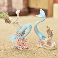 Mermaid decoration home decoration birthday gift smallsweet resin nautical fairy home garden sea fish figurines home decor