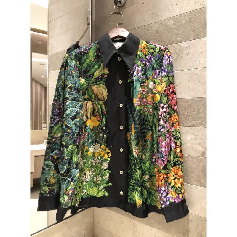 Women s Summer Shirt Jungle Print Long Sleeve Tops High Quality Silk shirt 2019 New