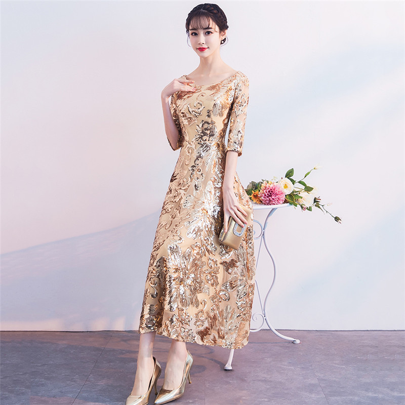 Party Dress Women Red Golden Green 7 Colors XS 3XL Plus Size Host Banquet Dresses 2019 New Autumn Winter Korean Maxi Dress CX961 in Dresses from Women 39 s Clothing