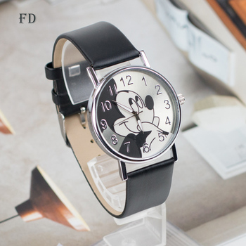 FD Fashion mickey mouse Pattern Women Watch Leather Strap Quartz Watches Women Clock Hot Casual Wristwatch relogio feminino