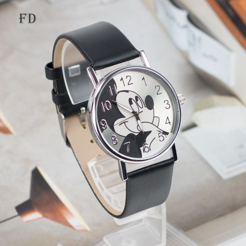 FD Fashion mickey mouse Pattern Women Watch Leather Strap Quartz Watches Women Clock 2017 Hot Casual Wristwatch relogio feminino miler vintage fashion watch women retro leather strap world map casual quartz wristwatch ladies creative clock relogio feminino