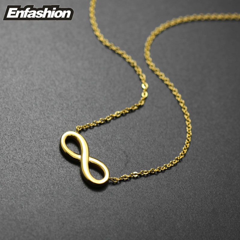 infinity necklace gold. aliexpress.com : buy fashion infinity necklace women pendant rose gold color stainless steel chain collar jewelry wholesale from reliable