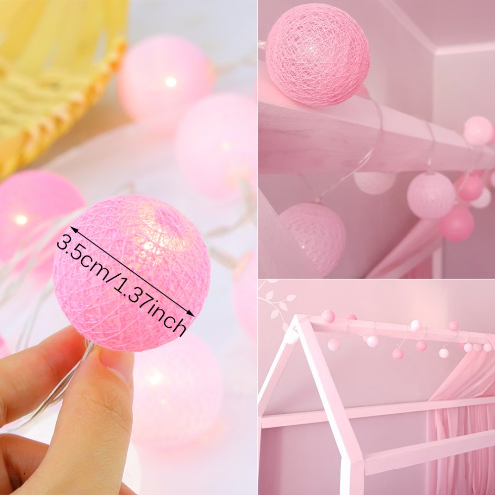 20 Led Pink Cotton Ball Decoración de vacaciones Luz LED String - Iluminación de vacaciones - foto 2