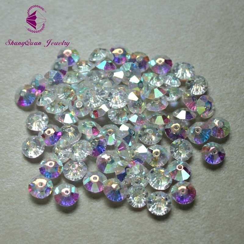 Elegant 100pcs 5mm Heart Shaped Crystal AB Hot Fix Rhinestone