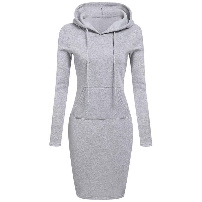 2018 Fashion Women Winter Dress Long Sleeve Pocket Lace-up Hooded Pullover Sweatshirt Hoodies Warm Long Sweatshirt Top Outwear