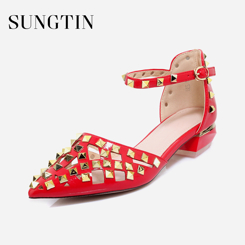 Sungtin High Quality Genuine Leather Gladiator Sandals Women Sexy Rivet Pointed Toe Red Chunky Heels Female Hollow Out Sandals fashionable women s sandals with hollow out and chunky heel design