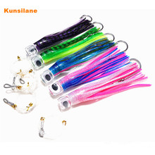 5x 8.5″ Prowler Resin Head Rigged Trolling Tuna Soft Skirt Lure Leurre Octopus Big Game Fishing Marlin Tuna Stainless Steel Hook
