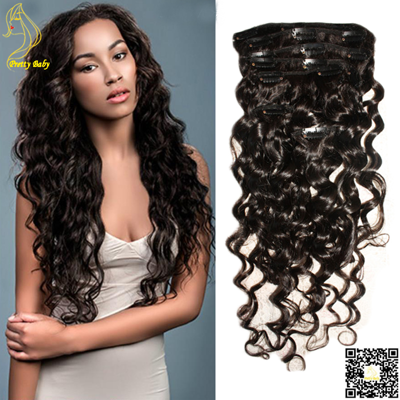 100g 200g Loose Deep Wave Human Hair Clip In Curly Hair