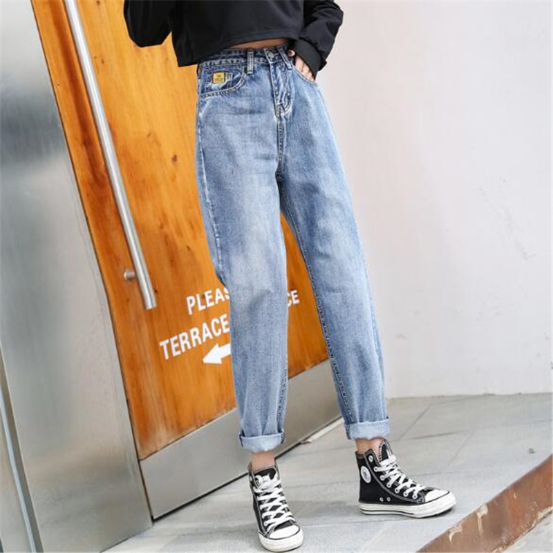 WKOUD 2019 High Waist Loose Jeans Women Candy Color Loose Denim Harem Pants Casual Spring Jeans Female Boyfriend Trousers P8863