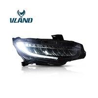 VLAND фабрики для головы лампа для Civic светодиодный фара 2016 2017 2018 светодиодный головы света с подвижными сигнала + вилка и играй + Водонепроница