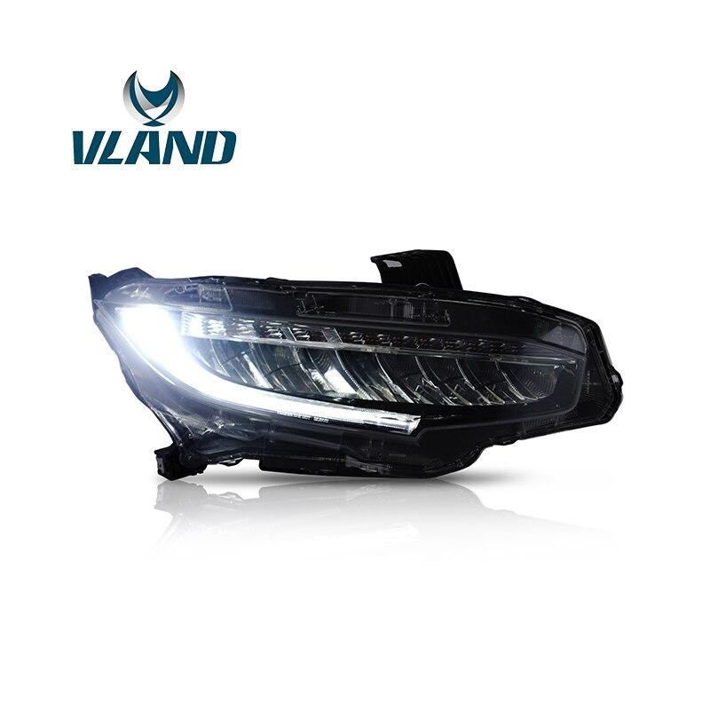 VLAND Usine Pour Lampe Frontale Pour Civic LED Phare 2016 2017 2018 LED Head Light Avec Déplacement Du Signal + Plug et Jouer + Étanche