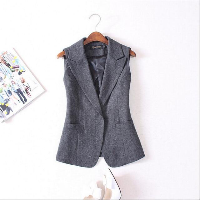 Women Blazer Vest Fashion Slim Fit Female Suit Waistcoat Single Button Grey Autumn Winter Spring New Fashion Vests A2886