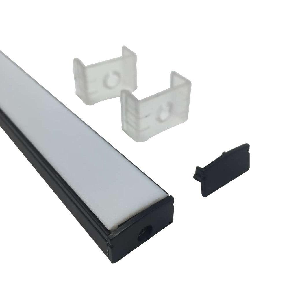 UnvarySam Perfil de aluminio negro para barra de luz LED 5Pcs 1M - Iluminación LED - foto 2