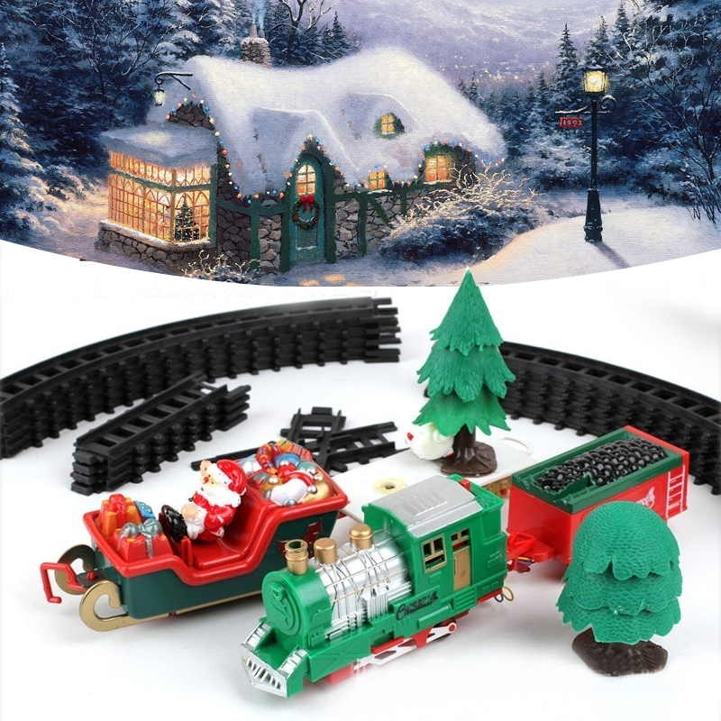Electric light music Christmas track train Charming Decoration Wooden Musical Christmas Train Ornament Decor gift Parent-child