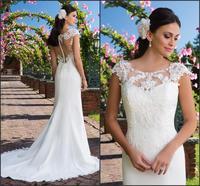 Simple Scoop Cap Sleeves Plus Size Wedding Gowns Mermaid Illusion Back Lace Appliques Bride Dress Robe de Mariage 2019